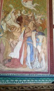 Eines der schöneren Fresken: Elisabeths Abschied von ihrem Gemahl Ludwig, der mit seinem Gefolge zum Kreuzzug aufbrach und noch in Italien verstarb. Gemalt 1854 von Moritz von Schwind im Arkadengang des ersten Obergeschosses.