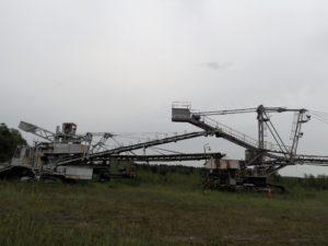 Die Schaufelradbagger am Rand des ehemaligen Tagebaus Werminghoff I