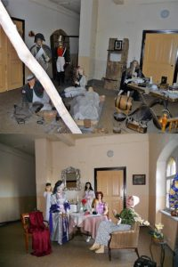 An diesen beiden Fotos (oben 2015, unten 2017) kann man sehen, dass es im Schloss vorangeht. Der Raum mit den gruseligen Schaufensterpuppen ist inzwischen ein bisschen weniger gruselig. Oder etwa nicht?