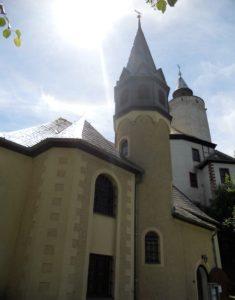 Burgkirche im 16. Jahrhundert errichtet 1901 Kirchenumbau/Neubau des Glockenturmes